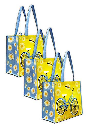 Earthwise Reusable Grocery Bag Shopping Summer Beach Tote w/ Bicycle Print (3 Pack)