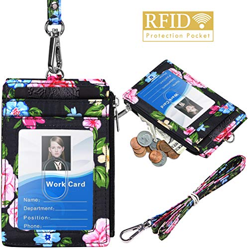 Badge Holder with Zipper, ELV PU Leather ID Badge Card Holder Wallet with 5 Card Slots, 1 Side RFID Blocking Pocket and 20