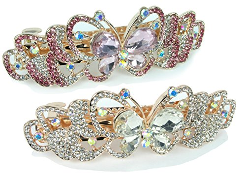 Rhinestone Barrettes - Set of 2 Jeweled Butterfly Hair Clips