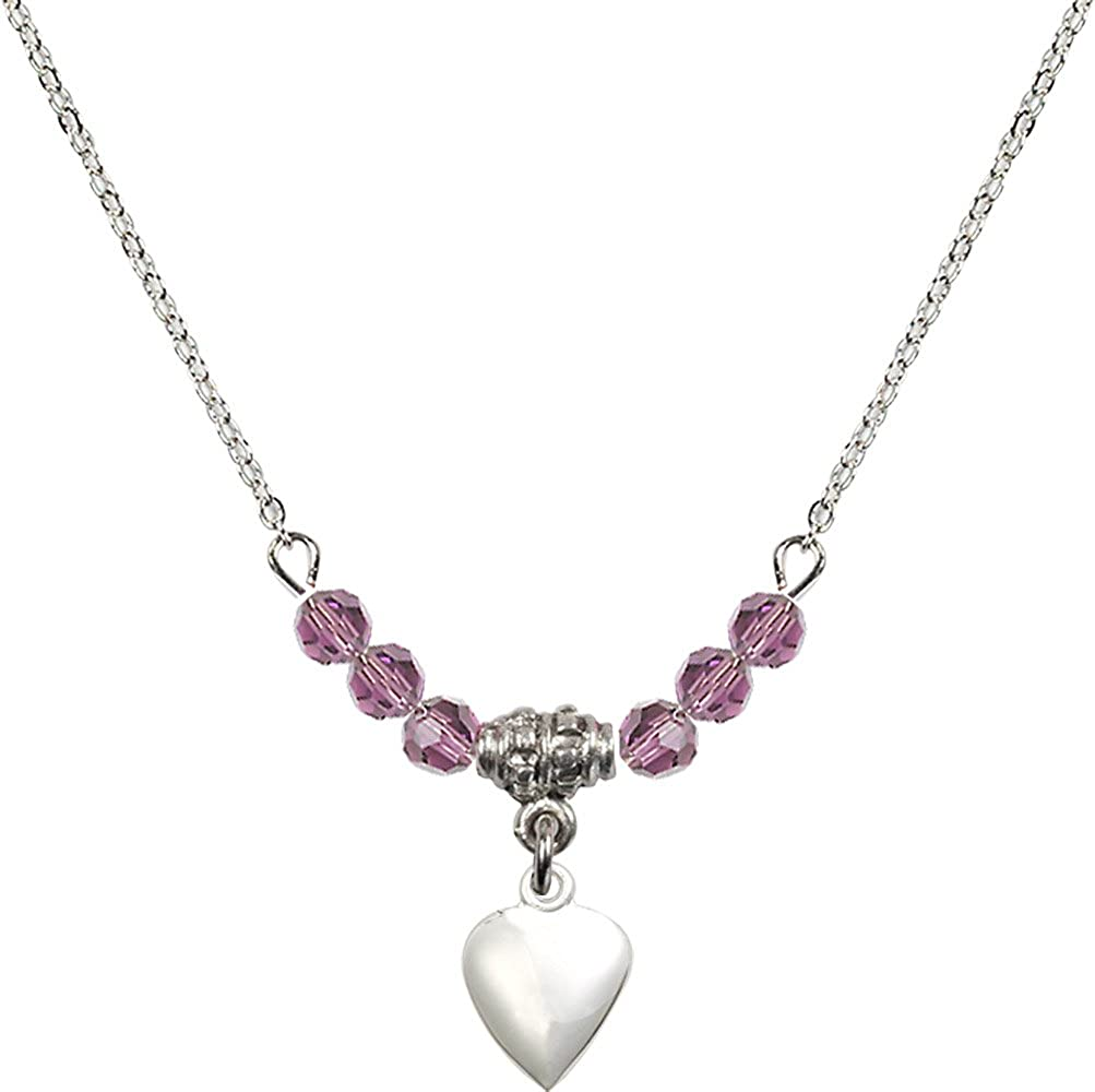 18-Inch Rhodium Plated Necklace with 4mm Light Amethyst Birthstone Beads and Sterling Silver Heart Charm.