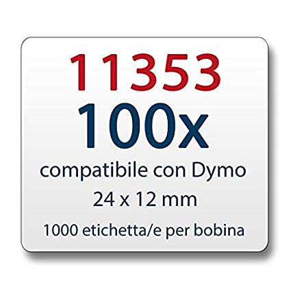 20x Etiketten Kompatible zu Dymo 11353 1000 label pro Rolle 24 x 12 mm