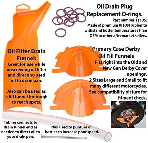 Kit King – All in One Harley Davidson Oil Change Aftermarket Kit – 10PCS 11105 Oil Drain Plug O-Rings, 2 Fill Funnels, 1 Oil Filter Drain Funnel 63797-10, 62700015 62700239 62700199 63794-10 by Kit King USA (Image #1)