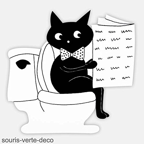 Plaque de porte de toilettes chat noir, déco humoristique, déco salle de bains, plaque porte wc, panneau de porte, coloris personnalisables, signalétique toilettes, panneau humoristique
