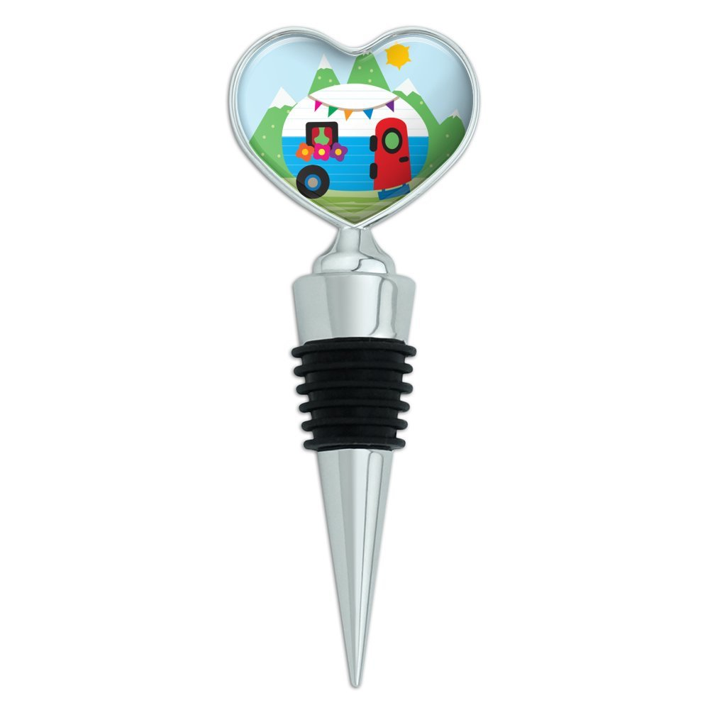 Vintage Retro Camper RV Camping Travel Trailer Heart Love Wine Bottle Stopper