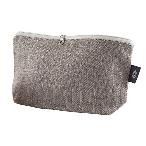 Handmade Gray Canvas Makeup Bag - 100% Linen Flax Compact Cosmetic Travel Pouch Luxury Brush Case by ThingStoriesUS