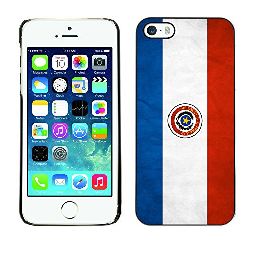 Omega Case PC Polycarbonate Cas Coque Drapeau - Apple iPhone 5 / 5S ( Paraguay Grunge Flag )