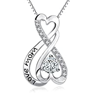 Mom Necklace Sterling Silver Infinity Heart Engraved Love Mom Jewelry Women Gift 18