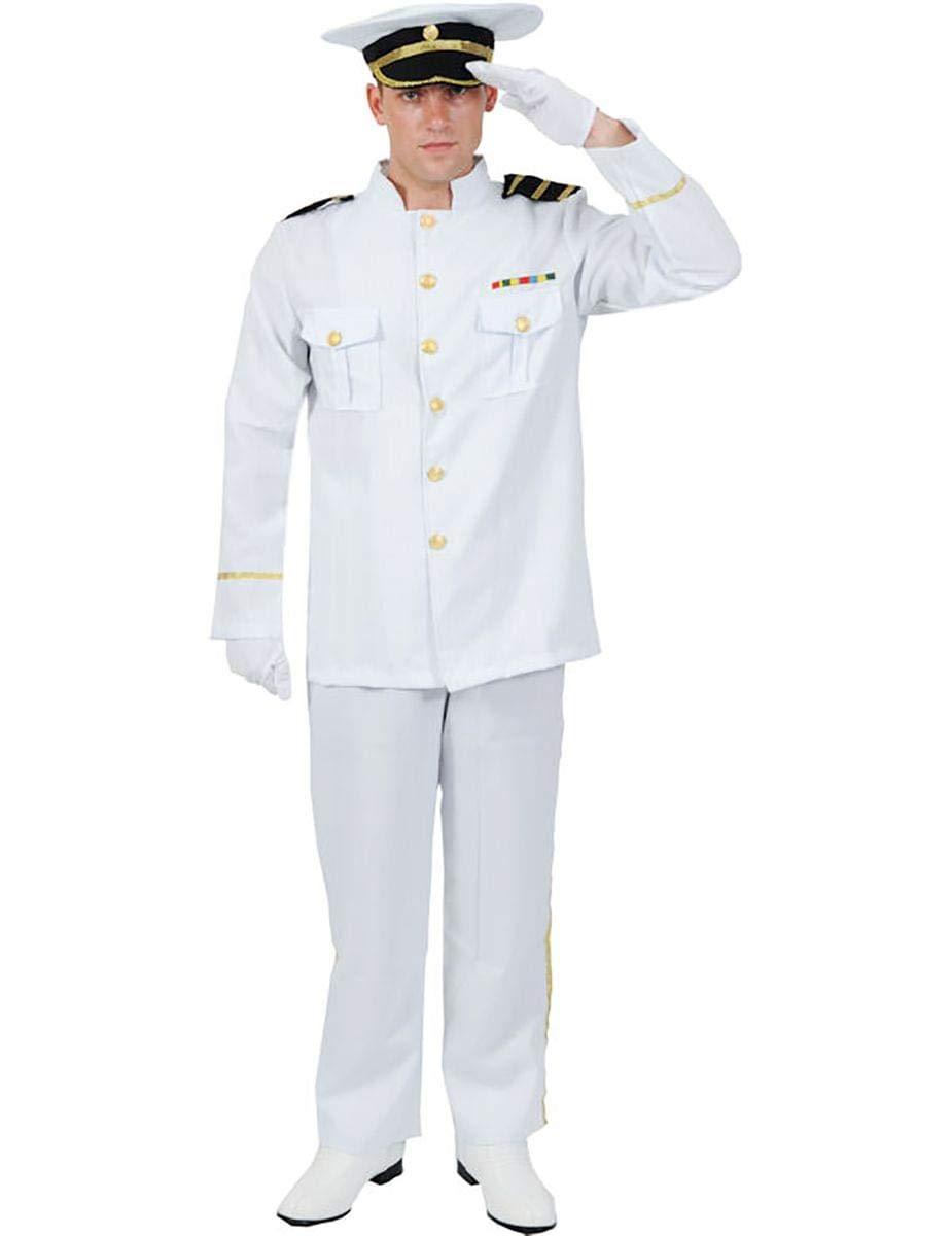 719016fdd Mens White Navy Captain Naval Officer Sea Sailor Uniform Fancy Dress  Costume Standard