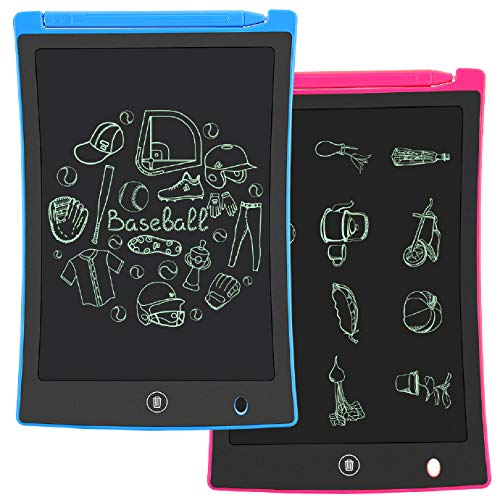 KURATU 2 Pack LCD Writing Tablet, 8.5 inch Electronic Drawing Pads for Kids, Portable Reusable Erasable Ewriter, Elder Message Board,Digital Handwriting Pad Doodle Board