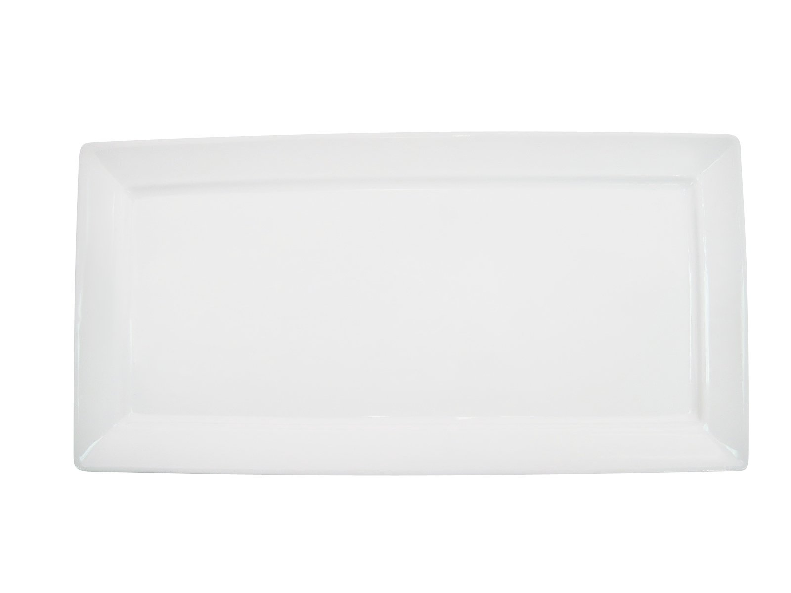 CAC China F-RP41 Paris-French Square 14-Inch by 6-Inch New Bone White Porcelain Thin Rectangular Platter, Box of 12