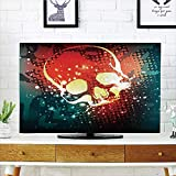 iPrint LCD TV dust Cover,Skull,Digital Grunge Display Over Computer Art Stylized Futuristic Background Graphic,Scarlet Teal,3D Print Design Compatible 70'' TV