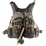 FanBell Adjustable Fly Fishing Mesh Vest Mutil-Pocket Outdoor Fishing Hiking General Size Army Green