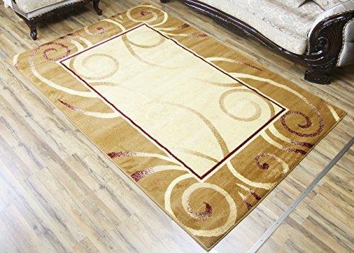NEW Modern Gold Beige Cream Swirl Design Rug Contemporary Bordered Carpet Machine Made Area Rug 5 by ()