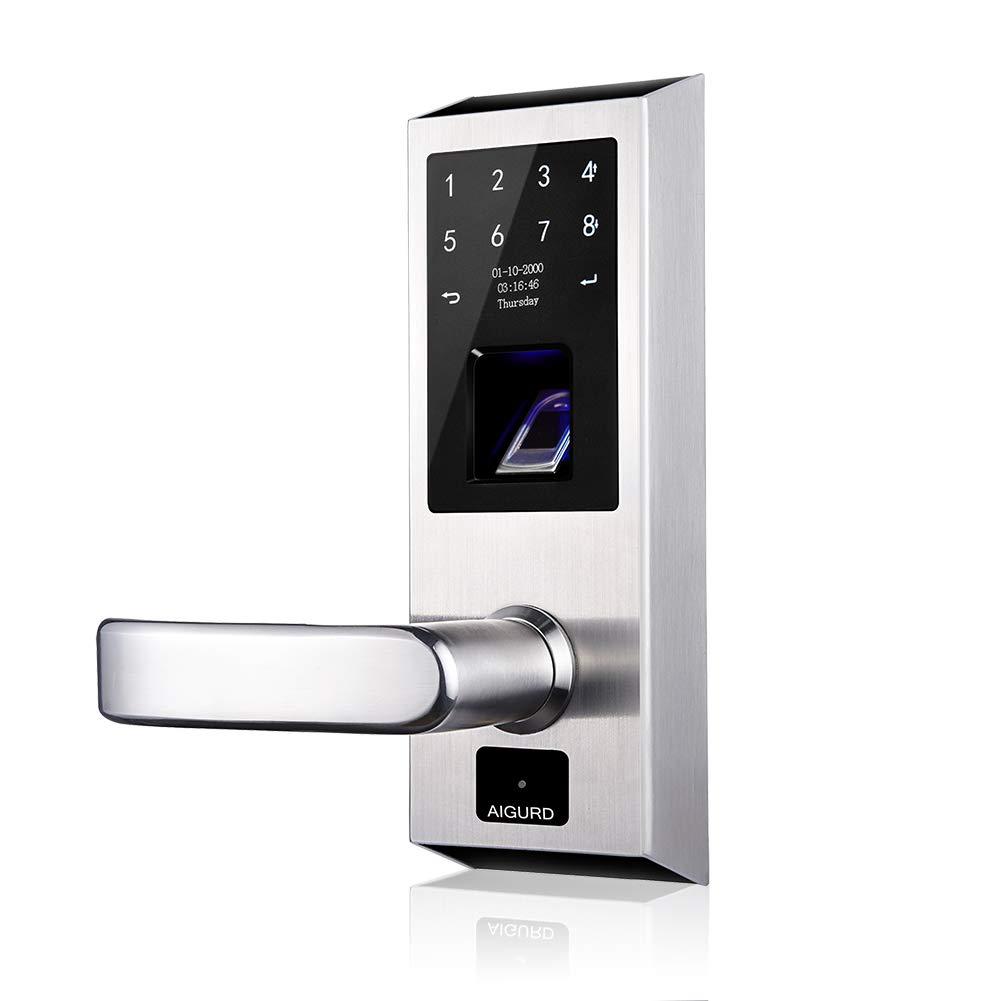 AIGURD Smart Lock Fingerprint Biometric Door Lock Keyless Touchscreen Keypad Electronic Deadbolt Front Handle Door Lock (F18 Left Handle)