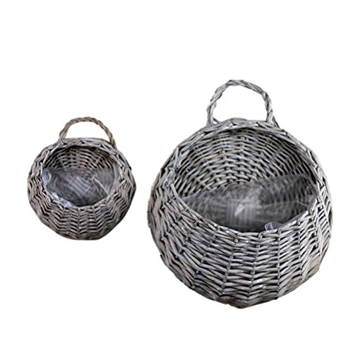 WINOMO 2PCS Straw and Willow Basket Wicker Flower Pots Flower Wall Hanging Flowerpot Hanging Basket Rustic Rattan Hanging Wall Basket(Grey Sallow)