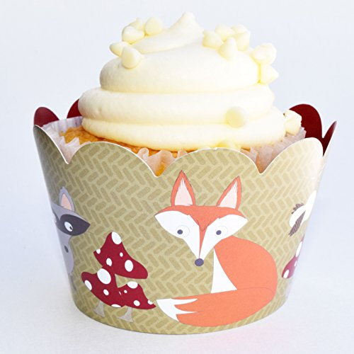 A Cupcake Themed 1st Birthday Party With Paisley And Polka: Woodland Animal Cupcake Wrappers, 36 Forest Creature Cup