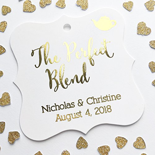 The Perfect Blend Tea or Coffee Color Foil Wedding Favor Hang Tags (FS-76-F)