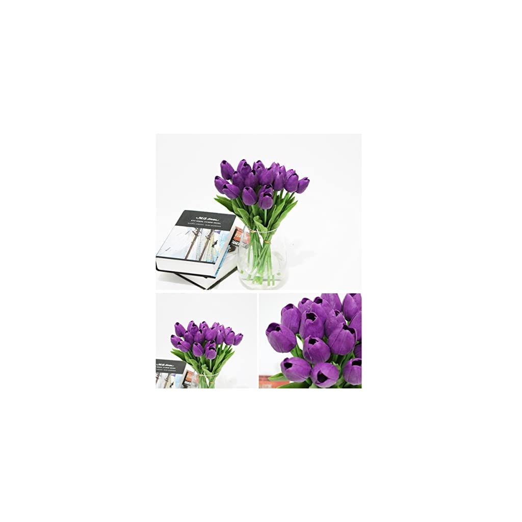 WINOMO 30pcs Real Touch Artificial Mini PU Tulips Fake Flowers for Wedding(Purple)