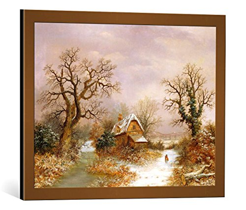 kunst für alle Framed Art Print: Charles Leaver Little Red Riding Hood in The Snow 19th Century - Decorative Fine Art Poster, Picture with Frame, 25.6x19.7 inch / 65x50 cm, Copper Brushed