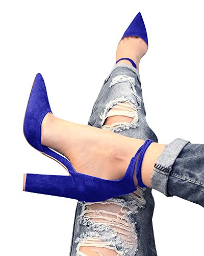 Women Ankle Pointed Toe Sandals High Heels Shoes (Blue) - 1