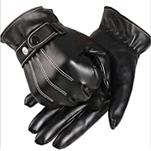 Evaliana Washable PU Leather Cold Weather Gloves Mittens Motorcycle Biker