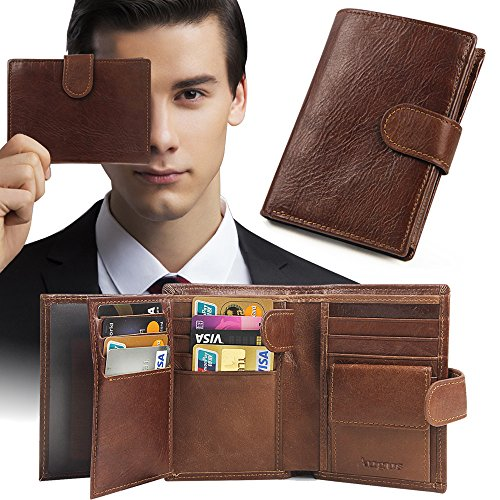 Wallets for Men RFID Blocking Men Genuine Leather Blocking Stylish Vegetable Minimalist Wallets Genuine Leather RFID Blocking Bifold Stylish Wallet With 2 ID Window