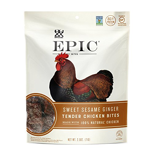 - Epic (Sample) Jerky Bites, 100% Natural, Chicken, Currant & Bbq, 2.5 ounce