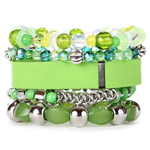 Beaded Flex Bracelet - Lime Beaded Activity Tracker Bracelet for Fitbit Flex, Jawbone UP2 UP3, Garmin Vivosmart