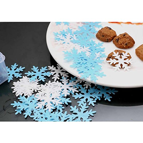 GEORLD Set of 48 Edible Snowflakes Cupcake & Cake Toppers Christmas Winter Party Decoration 2 Colors(White and Blue) by GEORLD (Image #3)