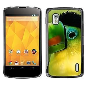 TopCaseStore / la caja del caucho duro de la cubierta de protección de la piel - Parrot Green Beak Tropical Bird Nature - LG Google Nexus 4 E960