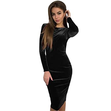 48c91b43b895c Sexy Women Backless Bodycon Skirt O Neck Long Sleeve Knee Length Evening  Party Dresses ANJUNIE(