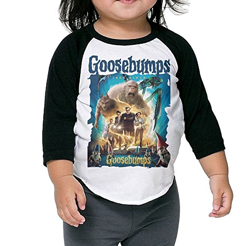Gilles Boys/Girls Goosebumps 3/4 Sleeve T-Shirt Raglan Jersey Black 3 Toddler