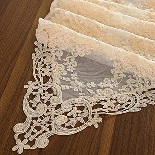 ROGEWIN Table Runner Elegant Transparent Lace Decorative Home Multi-Function Embroiderey Tables Cloth Dust-Proof Cover -