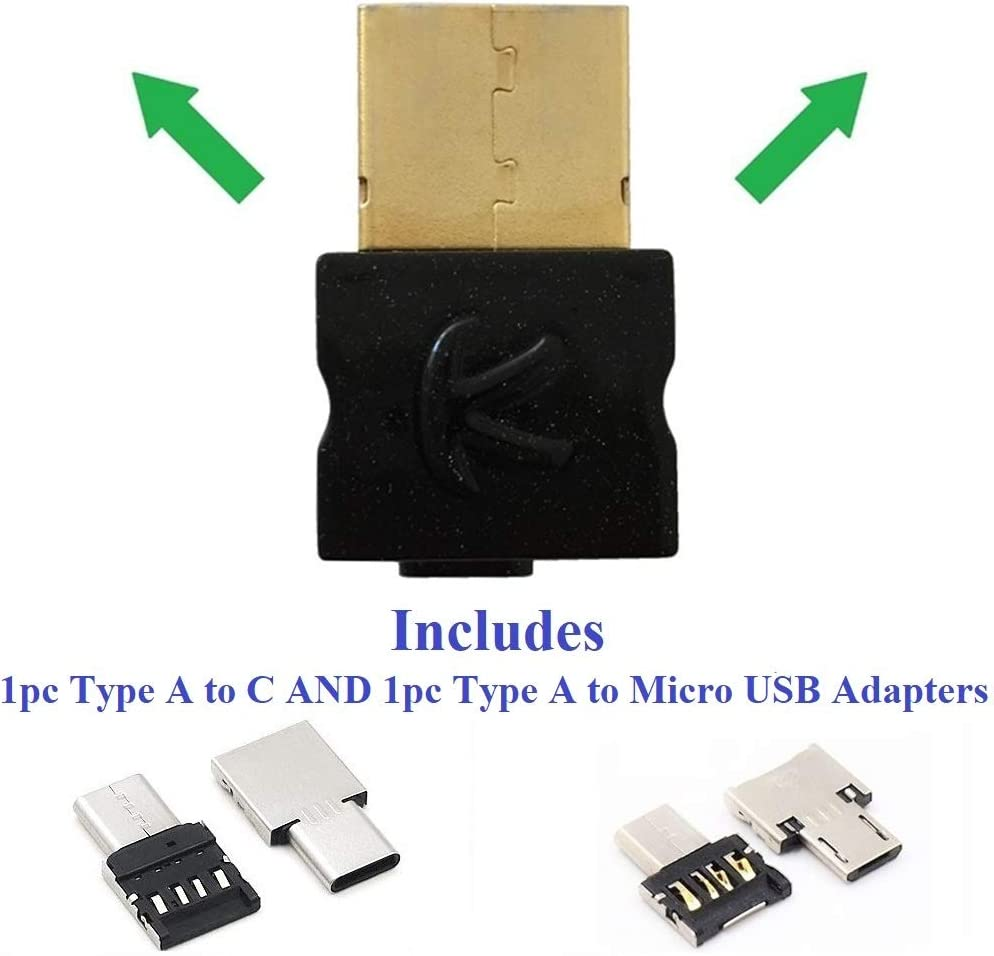 KOKKIA USB_Splitter (Includes Type C & Micro-USB Adapters) :Digital Bluetooth USB Splitter Transmitter,Compatible with Windows/Apple Mac Laptops/PCs,Android Devices. Compatible with 2 Sets AirPods.