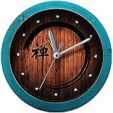 "Usany 4.7"" Zen word wooden clock alarm clock table clock seat Zen meditation Desk Clock (Green)"