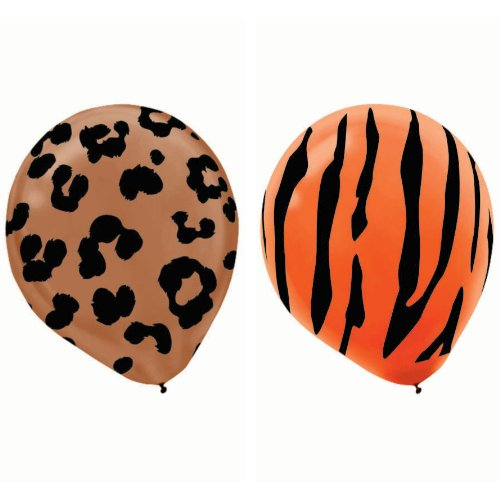African Safari Assorted Animal Prints Colorful Balloon Party Decorations, Latex, 12