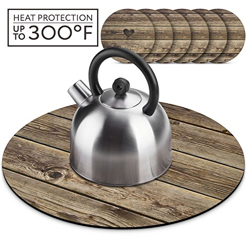 Wooden Farmhouse Teapot Trivet Set, Hot Pad for Table with 6 4 inch Cup Coasters Set, for Hot Pots Hot Kettles Dishes and Table Decoration Placemat. Wooden Rustic -