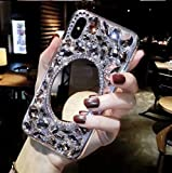 3D Crystal Handmade Case for Samsung Galaxy A50,Aoucase Luxury Beauty Bling Crystal Rhinestone Diamond Glitter Mirror Makeup Hard PC Case with Black Dual-use Stylus,Crystal