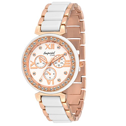 Imperial Club Chrono Look Rose Gold Authentic Design Analog White Dial Women #39;s Watch  wtw 017
