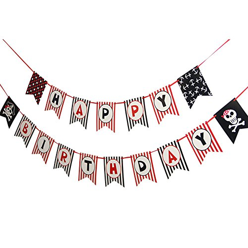 Pirate Theme Happy Birthday Banner Baby Kids Birthday Party Photo Backdrop Hanging Decorations SUNBEAUTY ()