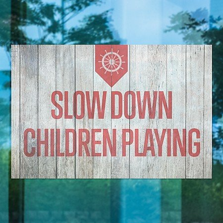 CGSignLab | ''Slow Down Children Playing -Nautical Wood'' Repositionable Opaque White 1st Surface Static-Cling Non-Adhesive Window Decal (5-Pack) | 30''x20''