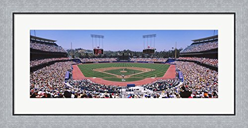 Spectators watching a baseball match, Dodgers vs. Yankees, Dodger Stadium, City of Los Angeles, California, USA by Panoramic Images Framed Art Print Wall Picture, Flat Silver Frame, 35 x 18 (Los Angeles Dodgers Baseball Mat)