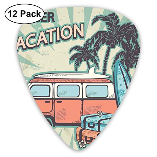 Celluloid Guitar Picks - 12 Pack,Abstract Art Colorful Designs,Hippie Van Near Coconut Palm Trees Floral Suitcases And Surf Boards,For Bass Electric & Acoustic Guitars.