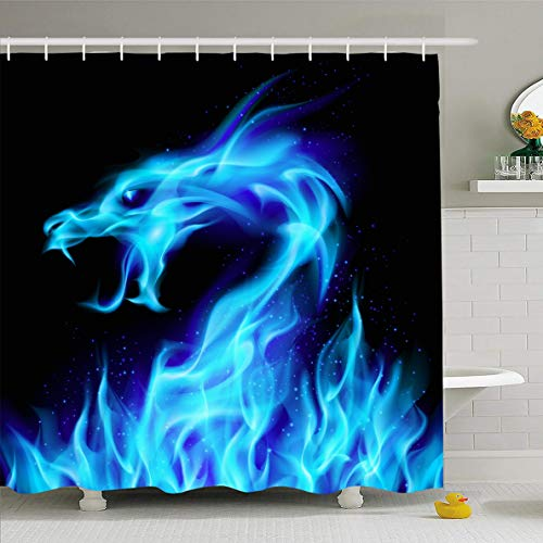 Ahawoso Shower Curtain 60x72 Inches Color Flame Abstract Blue Fiery Dragon Evil Number Wildlife Fire Medieval Reptile Fantasy Design Waterproof Polyester Fabric Bathroom Curtains Set with Hooks