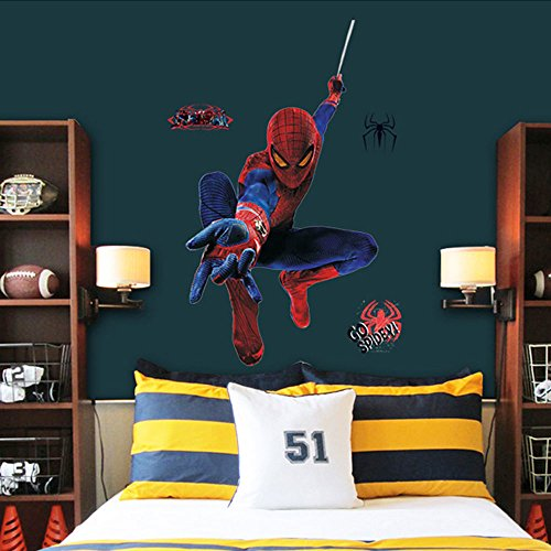 Cdycam Removable Wall Stickers Decal Home Decor for Children Kids Nursey Room Playing - Spiderman Wallpaper