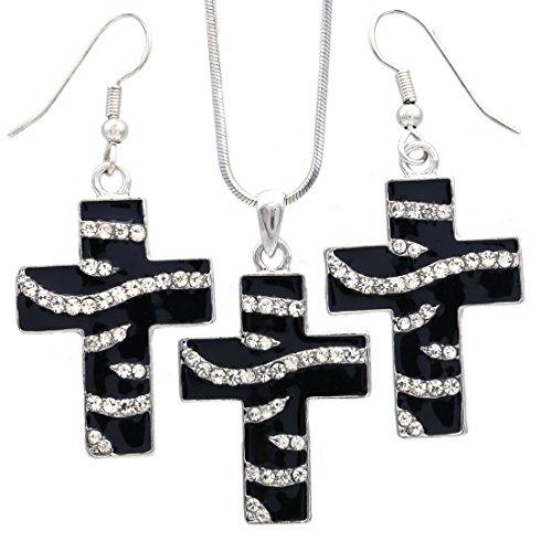 Zebra Print Cross - Soulbreezecollection Black White Zebra Stripe Animal Print Christian Cross Pendant Necklace Dangle Earrings