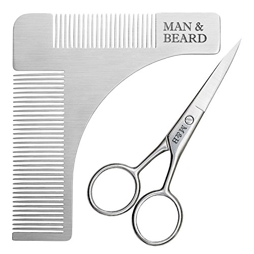 beard shaping tool kit with comb shaper and trimming scissors for beard and mustache grooming. Black Bedroom Furniture Sets. Home Design Ideas