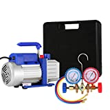 VEVOR Vacuum Pump Kit HVAC Single Stage AC Vacuum Pump 4CFM 1/3HP Air Vacuum Pump with 4 Valve A/C Manifold Gauge Set Refrigerant Air Conditioning (4CFM1/3HP 4Valve)