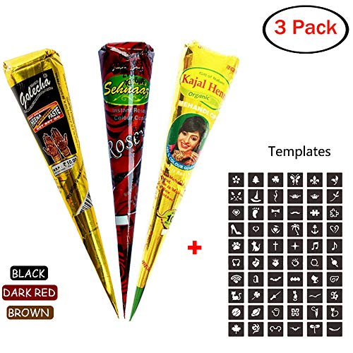 3Pcs Temporary Tattoo Cones 3 Colors Paste Cones Black Red Brown Body Art Painting Drawing With Free Adhesive Stencil - Henna Color Tattoo