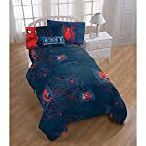 CA 3 Piece Kids Blue Red Spidermand Sheet Set Twin Sized, Spidy Bedding Spider Man Pattern Web Design Superhero Themed MSST Midtown School of Science Technology, Microfiber